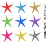 colorful seastars  isolated on... | Shutterstock . vector #221941864