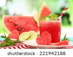 watermelon cocktail on table ... | Shutterstock . vector #221942188