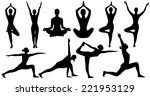 yoga poses woman silhouette... | Shutterstock . vector #221953129