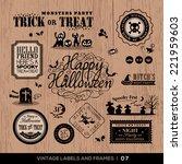 set of halloween labels and... | Shutterstock .eps vector #221959603