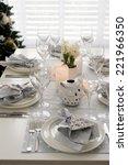 christmas table setting | Shutterstock . vector #221966350