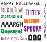 Halloween Phrases Clip Art Set. ...
