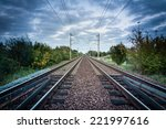 Railway Track With A Backgroun...