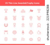 set of thin line stroke awards... | Shutterstock .eps vector #221998288