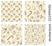 set of seamless christmas... | Shutterstock .eps vector #221999350
