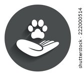 shelter pets sign icon. hand...