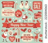 christmas and new year retro... | Shutterstock .eps vector #222004063
