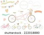 wedding bicycle. set of wedding ... | Shutterstock .eps vector #222018880