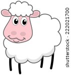 a white sheep smiling | Shutterstock .eps vector #222021700