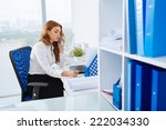 secretary getting a phone call... | Shutterstock . vector #222034330