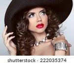 brunette girl with red lips ... | Shutterstock . vector #222035374