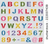 set of alphabet and number... | Shutterstock .eps vector #222037438
