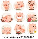 little pig cartoon action set ... | Shutterstock .eps vector #222038986