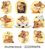 cute brown mouse cartoon action ... | Shutterstock .eps vector #222040696