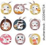 rabbit set with nine different... | Shutterstock .eps vector #222040714