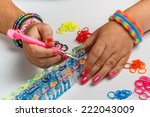 young woman making a rubber... | Shutterstock . vector #222043009