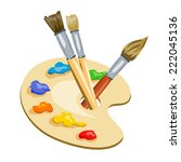 brushes and palette with paints.... | Shutterstock .eps vector #222045136