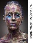 portrait of woman with unusual... | Shutterstock . vector #222045676