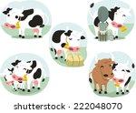 Cartoon Cow Set Of...