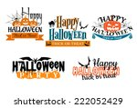 halloween scary banners in... | Shutterstock .eps vector #222052429