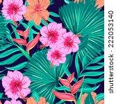 beautiful seamless floral... | Shutterstock .eps vector #222053140