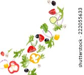 fresh salad with flying... | Shutterstock . vector #222055633