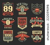 college rugby team emblems in... | Shutterstock .eps vector #222059098
