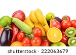 fruits and vegetables isolated... | Shutterstock . vector #222063679