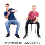 teenage boy playing videogames... | Shutterstock . vector #222065743