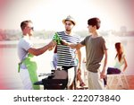 happy friends on rest at beach | Shutterstock . vector #222073840