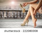 elegance shoes and legs of... | Shutterstock . vector #222080308