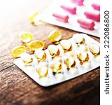 close up of cod liver oil... | Shutterstock . vector #222086800
