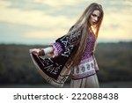 beautiful hippie girl outdoors... | Shutterstock . vector #222088438