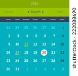 calendar 2015 march vector... | Shutterstock .eps vector #222088690
