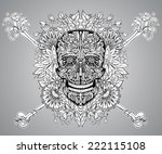 human skull made of flowers ... | Shutterstock .eps vector #222115108
