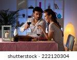 romantic couple having dinner... | Shutterstock . vector #222120304