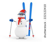 Happy Snowman on Skiing isolated on white background - stock photo