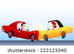 car crash  with two cars front... | Shutterstock .eps vector #222123340