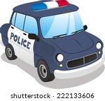 Police Cartoon Car. Vector...