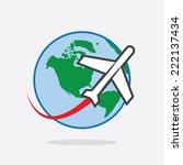 plane flying around the world... | Shutterstock .eps vector #222137434