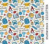 sticker school pattern. themed... | Shutterstock .eps vector #222137506