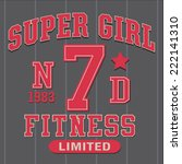 super girl fitness tee shirt... | Shutterstock .eps vector #222141310
