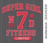 super girl fitness tee shirt... | Shutterstock .eps vector #222141310