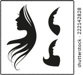 vector set of woman silhouette... | Shutterstock .eps vector #222142828