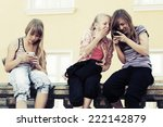 group of school girls calling... | Shutterstock . vector #222142879
