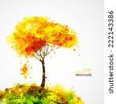 autumn tree. dreaming girl on... | Shutterstock .eps vector #222143386