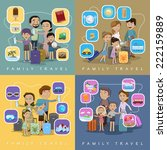 family travel against color... | Shutterstock .eps vector #222159889