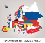 europe map jointed with country ... | Shutterstock .eps vector #222167560