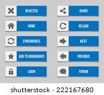 flat blue buttons set. vector...