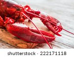 cooked lobster on wooden... | Shutterstock . vector #222171118